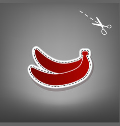 Banana simple sign red icon with for vector