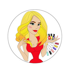 beauty girl face with colorful nail polish avatar vector image