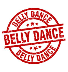 Belly dance round red grunge stamp vector
