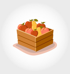 box with fresh fruits eco products vector image vector image