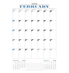 Calendar planner template for 2018 year february vector