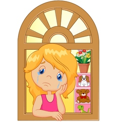 Cartoon little girl cry and watching out the windo vector image vector image