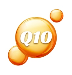 Coenzyme Q10 Golden oil icon Treatment drop pill vector image vector image