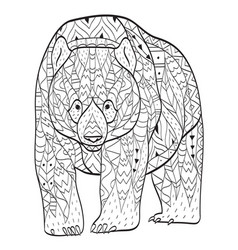 Coloring bear for adults vector