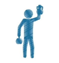 Drawing colored silhouette man athlete kettlebell vector