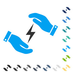 Electricity supply care hands icon vector