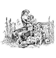 Female centaurus feeding her baby vector