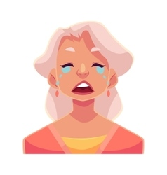 Grey haired old lady crying facial expression vector