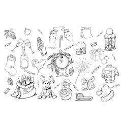Hand drawn christmas elements set vector