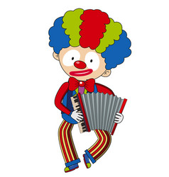 Happy clown playing accordion vector