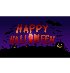 Happy halloween image with pumpkin shadow bat vector