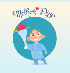 Happy mother day son hold flowers spring holiday vector