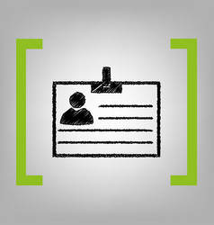 id card sign black scribble icon in vector image
