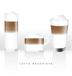 latte macchiato in three glass vector image