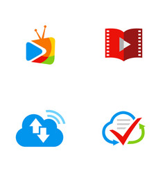 Media cloud movie logos vector
