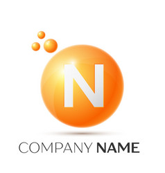 N letter splash orange dots and circle bubble vector