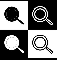 Pan sign black and white icons and line vector