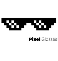 Pixel glasses icon vector