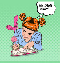 pop art girl in pink socks writing in diary vector image vector image