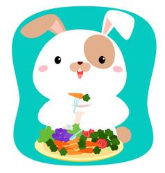 rabbit cartoon eating vegetable vector image vector image