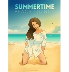 Retro poster with a girl sitting on the beach vector image vector image
