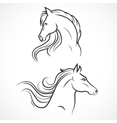 silhouette of horses vector image vector image