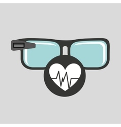 Smart glasses connected pulse heart vector