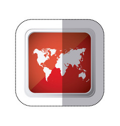 Sticker red square button with silhouette world vector