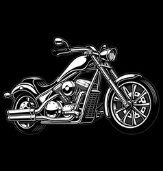 Vintage monochrome motorcycle on dark bakcground vector