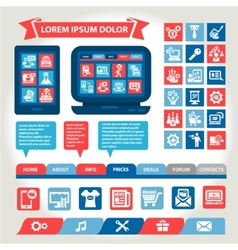 web and mobile flat design elements vector image