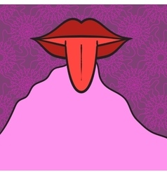 Women mouth open with tongue Out on pink vector image