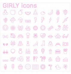 girly iconsbeauty and fashion icon set vector image
