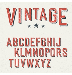 Vintage red grunge and shadowed alphabet letters vector image
