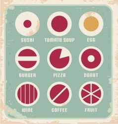 Retro set of food pictogram icons and symbols vector