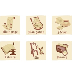 Set of antique parchment icons vector