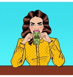 Pop art successful beautiful woman eating money vector