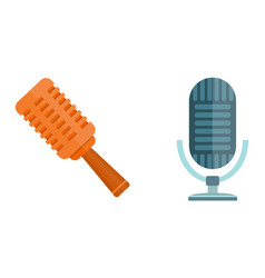 Microphone icon isolated interview music tv vector