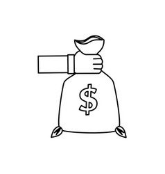 Hand human with money bag vector