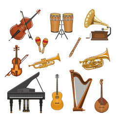 Icons set of musical instruments vector