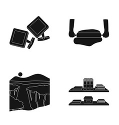 Cufflinks pizza dough and other web icon in black vector