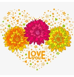 Flowers hearts vector