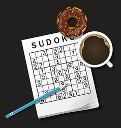 Sudoku game mug of coffee and donut vector