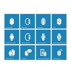 Smart watch icons on blue background vector