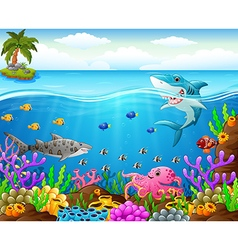 Cartoon shark under the sea vector