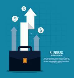 Arrow growth suitcase bag business icon vector