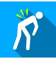 Backache flat long shadow square icon vector