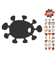 Bacteria icon with valentine bonus vector