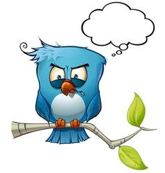 Blue bird wrathful vector