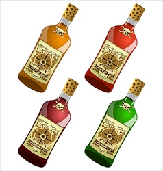 bottles pirate rum vector image vector image