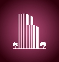 Buildings and trees over pink vector image
